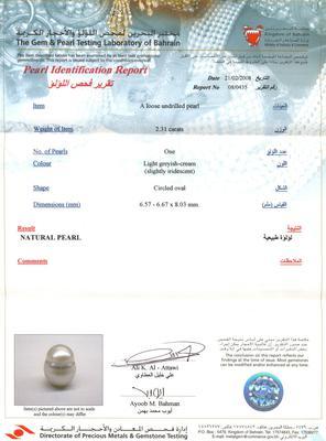 Certificate - Natural Persian Gulf Pearl Pendant - Basra Pearl