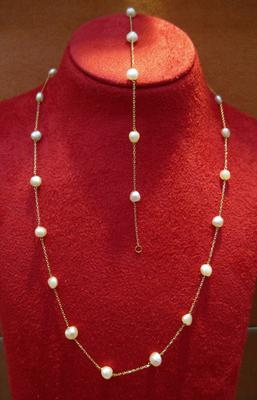 Natural Persian Gulf Pearls Necklace and Bracelet Set