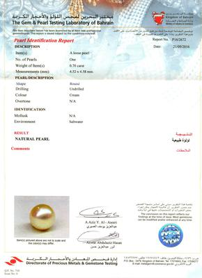 Certificate Natural Round Pearl Pendant with Diamonds