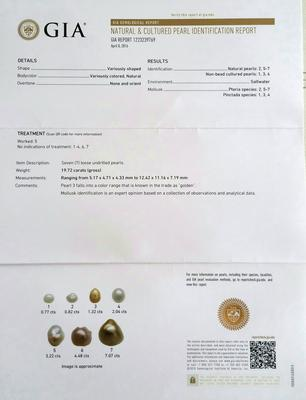 Natural Saltwater Pearl 7.07 ct - Certificate