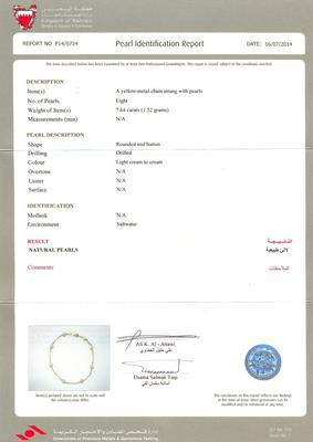Certificate - Natural Saltwater Pearl Bracelet of 7.64 carats