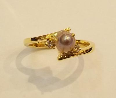Natural Saltwater Pearl Ring With Diamonds