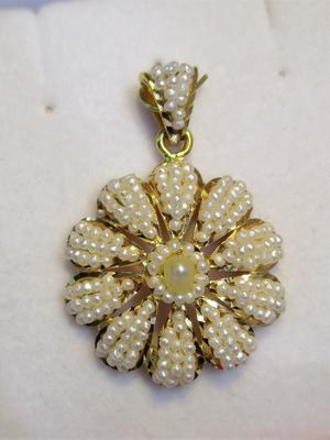 Natural Seed Pearls Pendant Flower Design on 21k Gold