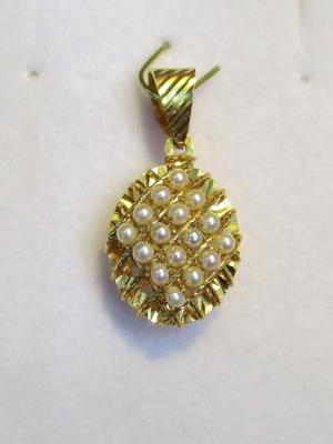 Natural Seed Pearls Pendant from Arabian/Persian Gulf on 21k Gold