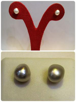 Natural-Baroque Basra Pearls Pair Of Earrings 2+ Carats Each