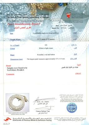 Necklace of Natural Basra Pearls Certificate