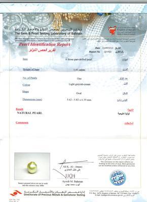 1.41 ct Basra Pearl Certificate