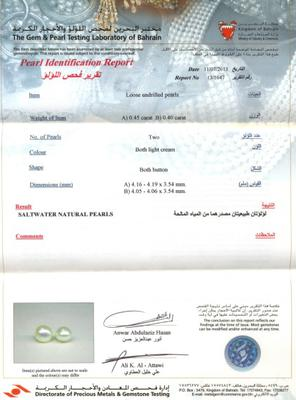 Pair of Basra Natural Pearls Certificate