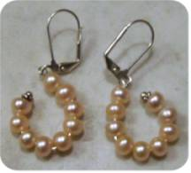 peach pearl earrings dangling