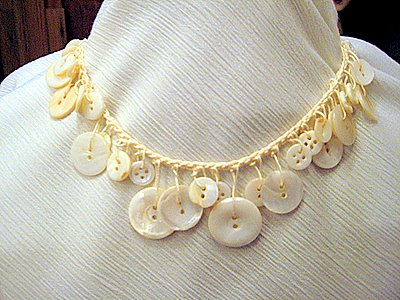 Vintage Pearl Button Necklace