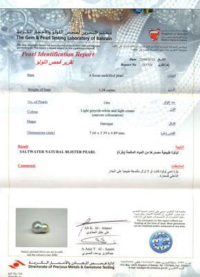 Pearl Pendant with Natural Basra Pearl Certificate