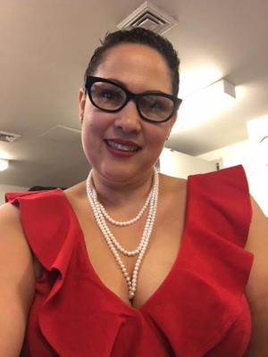 My friend in her pearl rope necklace.