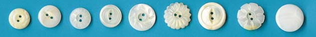 white vintage pearl buttons from Muscatine, Iowa, former Pearl Button Capital of the World