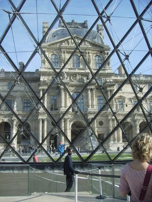 Peeking through Louvre pyramid