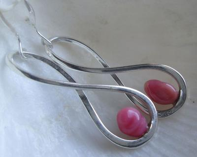 Pink Conch Pearl Earrings on Sterling Silver