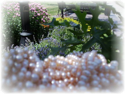pink pearls with park bench