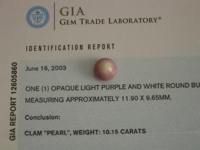 Quahog Pearl GIA certificate