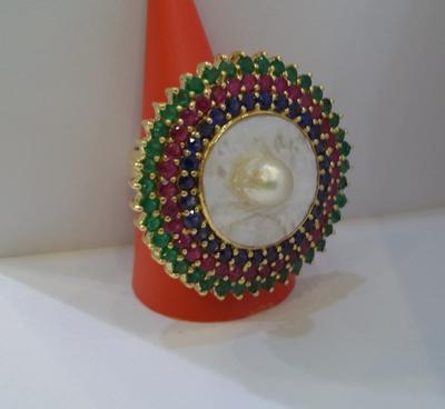 Salt Water Natural Blister Pearl Ring with Ruby, Emerald and Sapphires