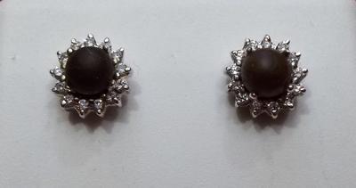 Salt Water Natural Dark Brown Pearl Earrings on 18k Gold