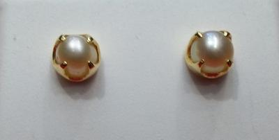 Salt Water Natural Pearl Earrings on 18k Gold