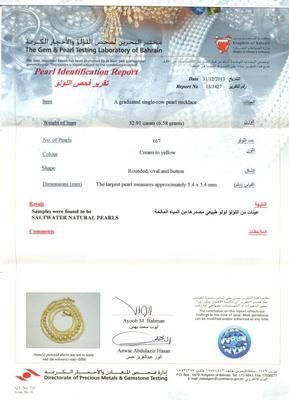 Certificate - Salt Water Natural Pearls & 32.91 Carat