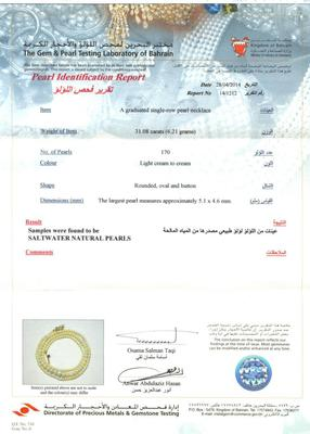 31.08 Carat Natural Basra Pearl Necklace - Certificate