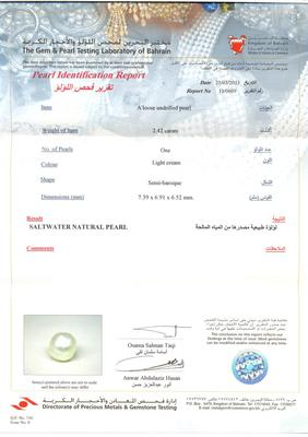 Certificate - Saltwater Natural Pearl - 2.42ct