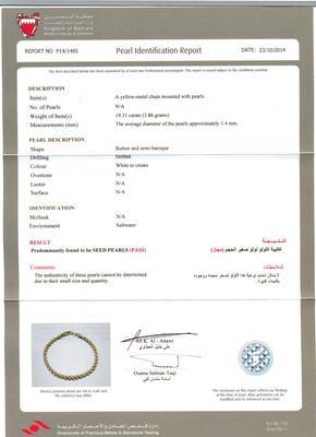 Seed Pearl Bracelet Certificate