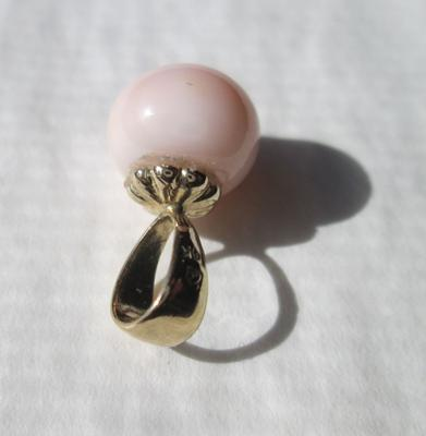 Superb Conch Pearl 4+ Carats 8mm Button Shape on 14k Gold