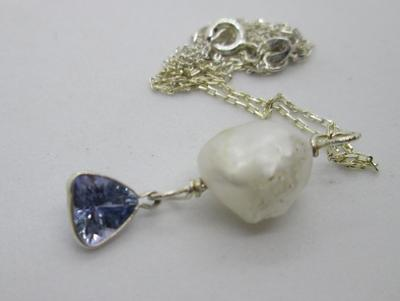 Tanzanite Gemstone & USA Freshwater Pearl on Sterling Silver Necklace