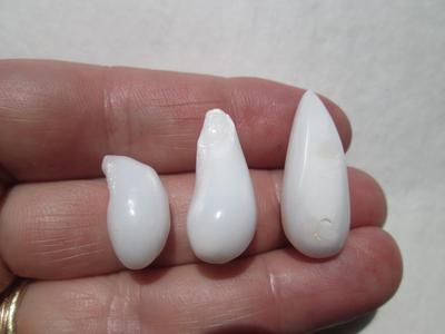 Three Drop Shaped Clam Pearls 44+ carats - Total
