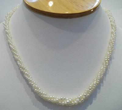 3 Strand Natural Pearl Necklace