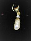 Natural 8mm Basra Pearl Pendant with Diamond