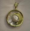 Natural Basra Blister Pearl Attached to a Shell Pendant