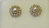Natural Basra Pearl and Diamonds Earrings on 18k Gold