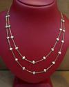 Natural Basra Pearl Necklace Spaced on 18k Gold Chain