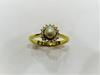 Natural Basra Pearl Ring with Diamonds and 18k Gold