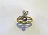 Natural Basra Pearl Ring With Two Pearls and Diamond Butterfly