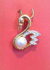 Natural Basra Pearl Swan Pendant with Diamonds