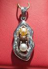 Natural Pearls Pendant in White Gold