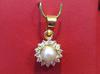 Natural Near Round Pearl Pendant with Diamonds in 18k Gold