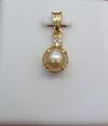 Natural Pearl Pendant with Diamond on 18K Gold