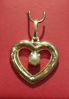 Natural Persian Gulf Pearl in 18K Gold Heart Pendant