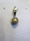 Natural Round Basra Pearl Pendant with Diamonds
