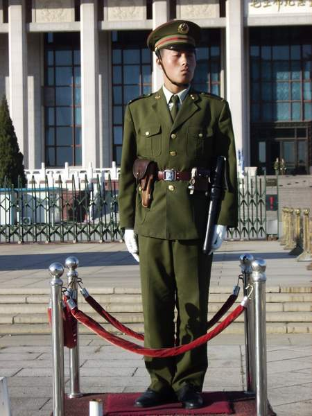 Chinese Soldier Standing Guard in Tienanmen Square