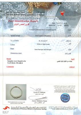 Natural pearl bracelet certificate