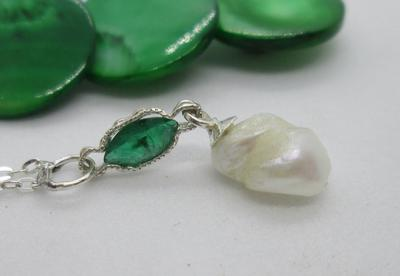 USA Natural Freshwater Pearl & Emerald on Sterling Silver Necklace