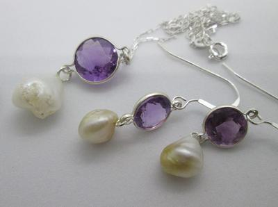 USA Natural Freshwater Pearls & Amethyst Gemstones on Sterling Silver