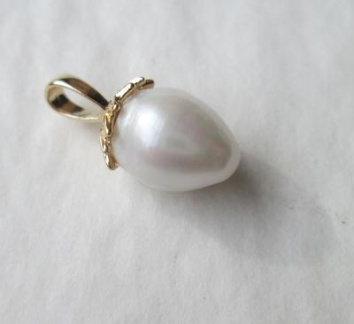 USA Natural Pearl Pendant on 14k Gold High Quality Rare