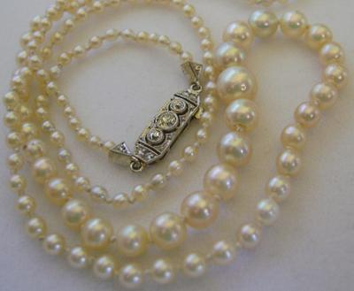 Vintage Art Deco Natural Saltwater Pearl Diamond Clasp